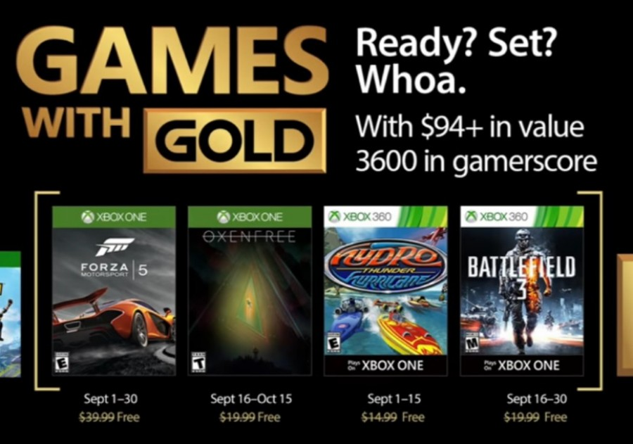 Revelados Games with Gold do mês de setembro